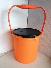 Tupperware Impressions Jumbo Canister Pail w/ Handle & Air-Tight Seal Orange New