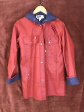 Vintage 80s Lot One of Boston Women's Raincoat Jacket Red and Blue Whales Med