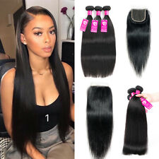 3 Bundles or with Closure Unprocessed Brazilian Virgin Human Hair Full Head 7A++