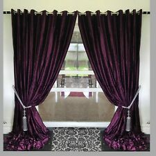 Crushed Velvet Curtains Eyelet Ring Top thick long Ready Made fully Lined Purple