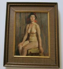 VINTAGE OIL PAINTING PORTRAIT VINTAGE PRETTY WOMAN FEMALE MODEL NUDE RUSSIAN ?