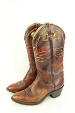 VTG Mens Wrangler Cowboy Leather Boots Brown Sz 9.5 D 116094 Pull On Embroidered