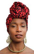 African Head Scarf Red Leopard Turban Head Wrap Chemo Hair Hijab Nubian
