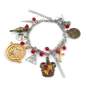 Harry Potter Gryffindor Silver Plated Charm Bracelet Perfect Gift AU Stock 22cm