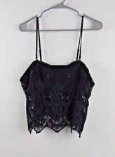 Express Women's Spaghetti Strap Black Lacy Crop Top  size Large