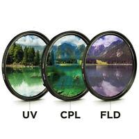 49MM 52MM 55MM 58MM 62MM 67MM 72MM 77MM UV CPL FLD 3 in 1 Camera Lens Filter