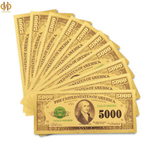 10PCS/Lot 1918 US Gold Banknote $5000 Dollar Plated Gold Money Note Collection