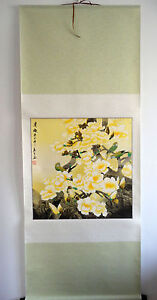 """original chinese hanging handpainted scroll painting""""birds,flowers"""" @A026"""
