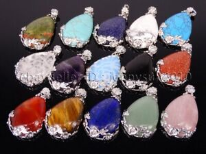 Natural Gemstones Inlaid Flower Drop Reiki Chakra Pendant Charms Silver Plated