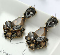 1 Pair Elegant Brown Crystal Rhinestone  Ear Drop Dangle Stud long Earrings 165