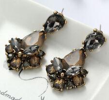 1 Pair Elegant Brown Crystal Rhinestone  Ear Drop Dangle Stud long Earrings 165