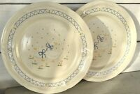 "2 Vtg 1980s Farm Country Goose Dinner Plate 10-3/4"" Duck Geese Blue Anchor Hocki"