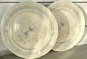 "2 Vtg 1980s Farm Country Goose Dinner Plate 10-3/4"" Duck Geese Blue Anchor Hocki"