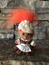"Russ Troll Doll! 3"" Orange Hair Brown Eyes! Pilgrim Girl! Thanksgiving!"