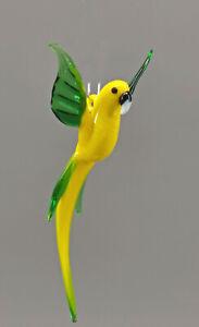 9912085-x Vidrio Figura Loro Amarillo Volando Para Colgar 6x10cm Soplado