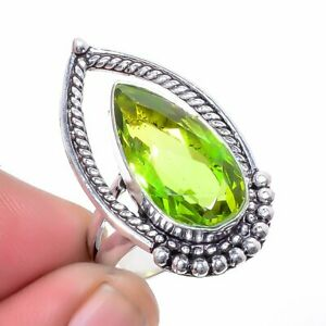 Burmese Peridot 925 Sterling Silver Jewelry Ring s.7 LR-1748