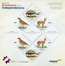Costa Rica 2018 MNH Independence 6v M/S Birds Manatees Deer Animals Stamps