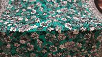Rayon Challis Hawaiian Print Emerald Green Black White Fabric By the Yard Rayon