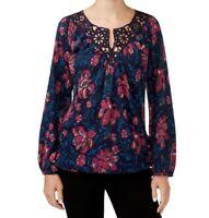 Lucky Brand Women's Katie Floral-Print Crochet Peasant Top Medium Navy Pink New