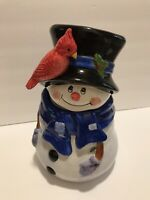 Adorable Christmas Collectable Snowman Cookie Jar Hand Painted Ceramic 13 Inches