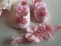 Baby Girls Reborn Shoes Pink Satin Princess Pram Shoes and Headband Set