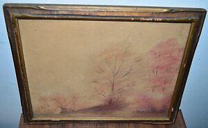 Antique HOMER DODGE MARTIN Autumn Fall Landscape Pencil Watercolor Sketch
