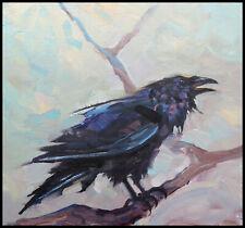 Wm HAWKINS   Crow  Raven  Impressionism Bird Art Study Oil Painting Art Original