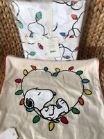 POTTERY BARN String Light QUEEN Christmas Organic Sheet Set Snoopy Pillow Cover