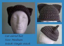 Cat eared beanie crochet handmade grey medium soft color made on request custom