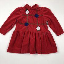 Vintage Sylvia Whyte Sport Long Sleeve Turtleneck Dress Tunic Red Velour 2T