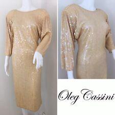 OLEG CASSINI VINTAGE Dress Size 12 Peach Beige Sequin 70s Disco Era Low Cut Back