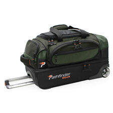 "NEW OLIVE PATHFINDER GEAR 22"" DROP BOTTOM ROLLING WHEELED DUFFEL BAG DUFFLE"