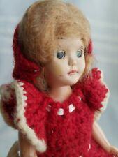 """Vtg 1950's Doll 7"""" Plastic Unmarked Sleepy Eyes Mohair & Crochet Handmade Dress"""