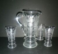 Beautiful Vintage Heavy Etched Hand Blown Glass Serving Pitcher 3 Glasses Clear