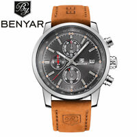 Luxury Brand Benyar Mens Watch Aviator Chronograph Date Genuine Leather Strap