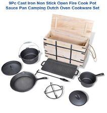 9Pc Cast Iron Non Stick Open Fire Cook Pot Sauce Pan Camping Dutch Oven Cookware