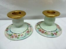 Pair of 2 Hand-painted w/Gold Trim Vintage Limoges Candlesticks Candle Holder