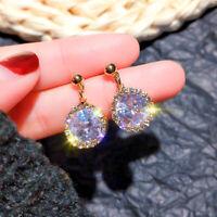 Elegant 925 Silver,Gold Drop Earrings Women White Sapphire Jewelry A Pair/set
