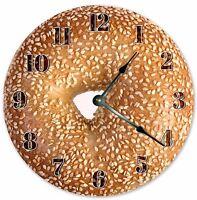 "10.5"" SESAME OVERLOAD BAGELS CLOCK - Large 10.5"" Wall Clock - Home Décor - 3226"