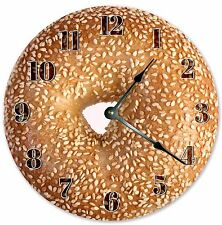 "10.5"" SESAME OVERLOAD BAGELS CLOCK - Large 10.5"" Wall Clock - Home Décor - 3226"