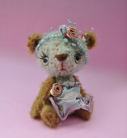 Handmade miniature mohair teddy bear artist ooak 'Ella' collectable