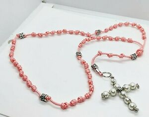 Peach Petite Hand Knotted Rosary w Wire Wrapped Cross w Pearl Beads