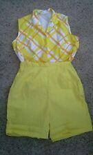 Vintage 1950s 60s Yellow Shorts & Top Set Playsuit Sz M L