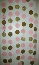 15' Light Pink and Gold Glitter Circle Garland Themed Baby Shower 1st Birthday