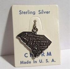 VTG NOS Sterling Silver State Shaped Travel Charm USA SC SOUTH CAROLINE Textiles