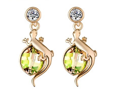 Sparkly Shiny Rose Gold Plated Green Austria Crystal Lizard Earrings Women Gift
