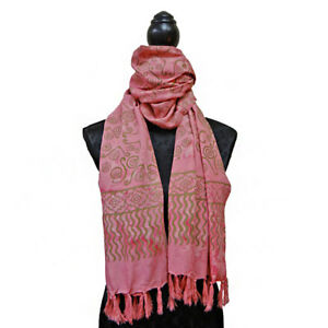 BATIK Printed Scarf Sarong Petal Pink with Gold 100% Cotton Fair Trade