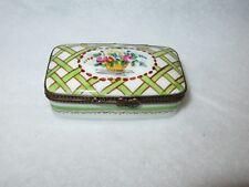 Parry Vieille Limoges Rectangular Basketweave Floral Trinket Box - Peint Main