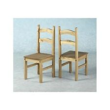 SET OF 2 X MEXICAN STYLE DISTRESSED PINE DINING CHAIRS