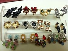 12 Pairs of Vintage Clampback Earrings, some Signed Germany, Dangling and Statio